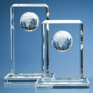 24cm Optical Crystal Globe Rectangle Award
