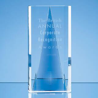 20.5cm Nik Meller Design Clear Optical Crystal & Cobalt Blue Savanna Award