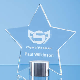14cm Clear Glass Star Mounted on a Brushed Aluminium Base