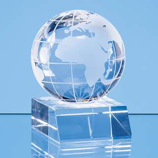 6cm Optical Crystal Globe Mounted on a Clear Crystal Base