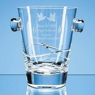 0.75ltr Diamante Ice Bucket with Spiral Design Cutting
