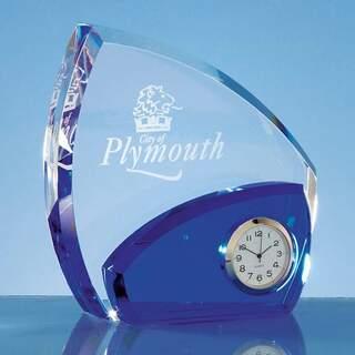 13.5cm Optical Crystal Clear & Cobalt Blue Clock