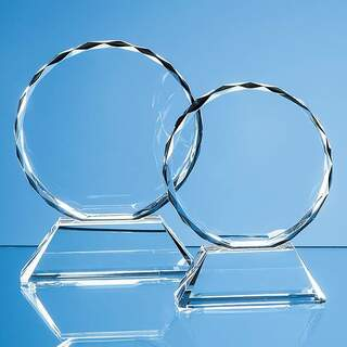 11cm Optical Crystal Mounted Facet Circle Award