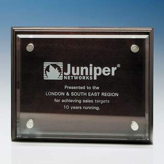 20.5cm x 25.5cm Clear Rectangle mounted on a Mahogany Plaque