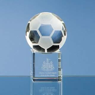 6cm Optical Crystal Football on a Clear Crystal Base