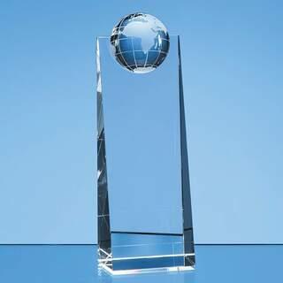 21cm Optical Crystal Globe Rectangle Award