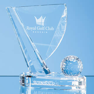 18cm Optical Crystal Golf Ball & Flag Award