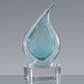 17cm Handmade Glass Frosted Teal Teardrop Award