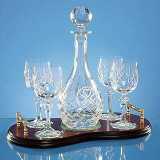 5pc Wine Set Wood Base