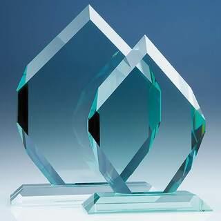 25.5cm x 20.5cm x 19mm Jade Glass Royal Diamond Award