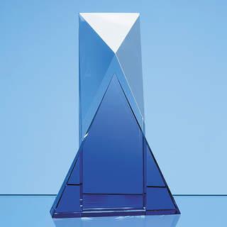 23cm Nik Meller Design Clear Optical Crystal & Cobalt Blue Mixx Award