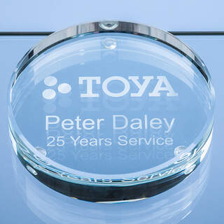 9cm x 18mm Clear Glass Round Paperweight
