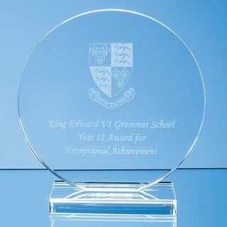 10cm x 12mm Clear Glass Circle Award