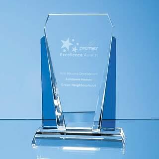 17.5cm Clear & Sapphire Blue Optical Crystal Sentinel Award