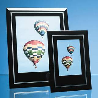 Black Surround with Silver Inlay Glass Frame for 8inchinch x 10inchinch Portrait Photo
